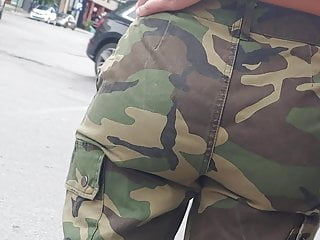 Hidden Camera Closeup Homemade video: Candid fat ass in army pants