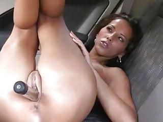 Pornstar Angel Dark car backseat dildo masturbation