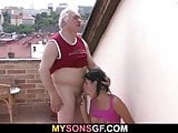 Cute girl cheats with her BF's old daddy