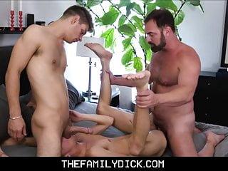 Jock stepson learns with bear stepdad...