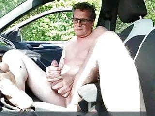 Mature wanker in his car