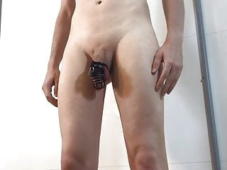 Tasty young man shows his naked body and trapped boy cock.
