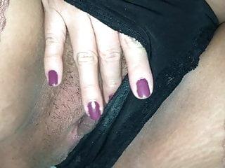 Pregnant pretty female friend in stayups fingering her rainy vagina