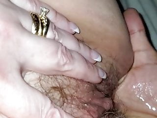 In her slit, plenty of juicy !! no have to push for squirt !