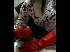 smoking femdom wife gives handjob with gloves and gets torture cumshot