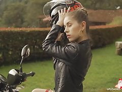 Heidy Pino black leather and bike