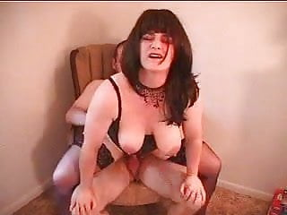 Katie rides her man in an old chair