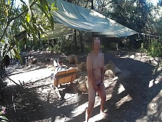 Guys at camp didn't notice naked guy wanking