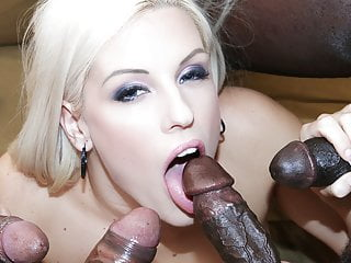 gandbang swallows Horny then interracial cum blonde anal
