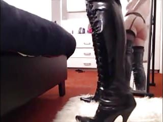 Mirror dance in thigh boots