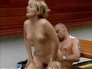 Mature blonde fucked hard outside
