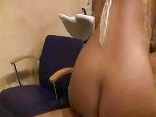 Blonde German Hairdresser Eats Cum
