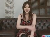Lovely Japanese Oshima vibed and cum loaded in her mouth
