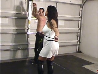 Spanking Brunette High Heels vid: Bullwhipping Her Admirer - High Heels, Whip and Paddle