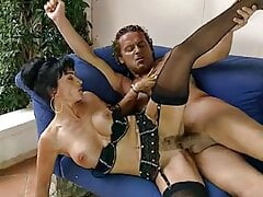 Italian mature facialized in black nylons