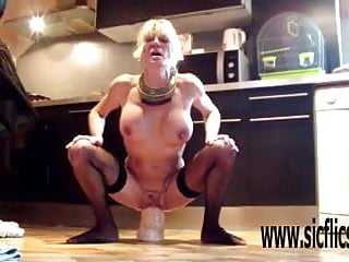 Extremely hard and deep XXL dildo penetrations