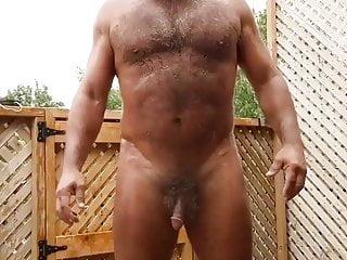 Hairy enjoying the rain outdoors...