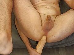 Tiny dick whit man play with big dildo