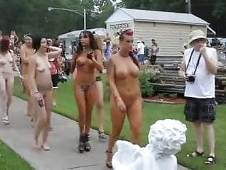 Walking at nude contest...