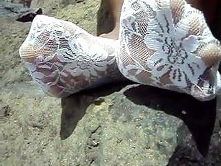 Mature bbw footsie feet wiggle
