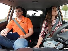 Euro fishnet babe publicly cowgirls driving instructor