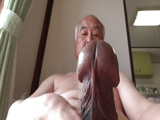 Naked old man plays with erection cock