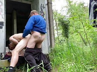 Outdoor Public fuck in the forest with old man and twink