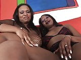 Thick ebony lesbians lick each others pussy