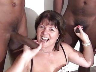 Sucking off black cocks...
