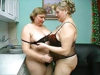 Two old chubby mature black lingerie...