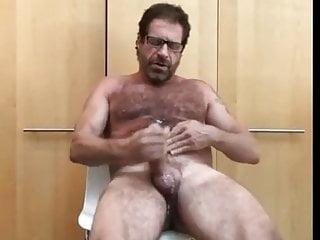 Hairy mature dad enjoys hj 2 cumloads...