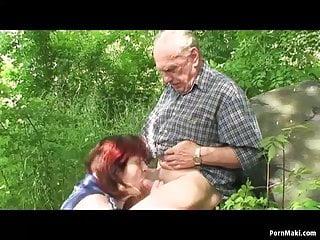 Grandpa fuck outdoor...