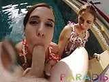 Paradise Gfs - Petite twins get fucked in resort pool - Part