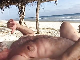 Bearded Bald Hairy Daddy Strokes At The Beach: HJ-CUMLOAD-HJ