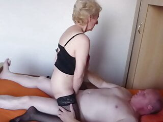 Cum on my wife's tits together with a stranger