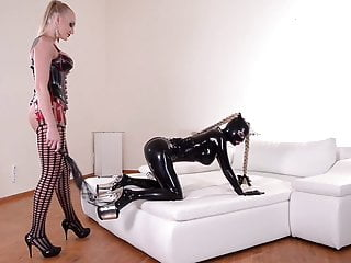 LATEX SLAVE CHASTISED BY DOMINA, PART ONE