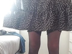 Trying on my pretty new skirt
