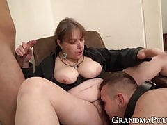 Dominant granny submits two dicks to her rule