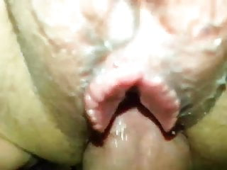 Mature hairy pussy gets creampie...
