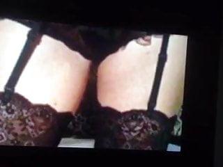 Wanking over Charlie Brookes in suspenders