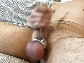 Soft to hard little dick with ball stretcher
