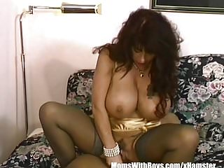 Brunette milf with gigantically gifted...