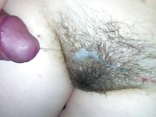 Sticky cum on her bush