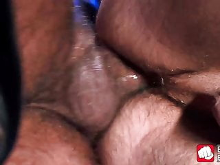 Submissive gay with puppy mask cums after hard anal slamming