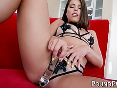 Adriana Chechik masturbates before rough POV anal drilling