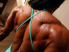 big woman muscle biceps and abs