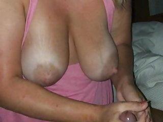 Lingerie Blonde Big Tits video: Blonde gf big natural tits messy handjob cumshot