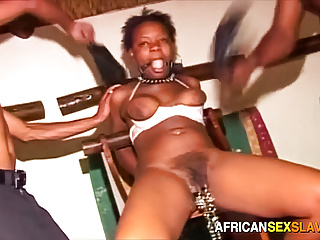 Black bondage bitch chained to chair and gangbanged