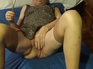 Amateur Shemale Masturbation Shemale Lingerie Shemale video: straight transvestite sounding urethral dildo nylon lingerie