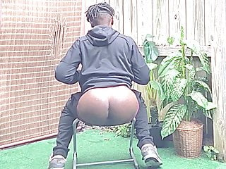 Daddy Playing With His Big Ass Butt and BBC Outside